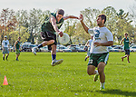 7 May 2015: Winooski's Sean Callahan, playing for the Vermont Commons School Flying Turtles catches the disk for the game winning point against South Burlington High School at Rick Marcotte Central School in South Burlington, Vermont. Mandatory Credit: Ed Wolfstein Photo *** RAW (NEF) Image File Available ***