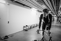 Due to the bad weather outside the planned long training ride was cut 1 hour short, so Jasper Stuyven (BEL/Trek-Segafredo) decided to complete the planned hours of training on the rollers in the hotel basement<br /> <br /> Team Trek-Segafredo winter training camp <br /> <br /> january 2017, Mallorca/Spain