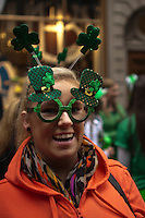 A reveller attends the 252nd annual St. Patrick's Day Parade in New York City. Photo by Eduardo Munoz Alvarez / VIEWpress.