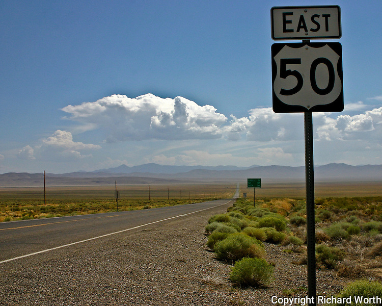 Highway 50 in Nevada stretches across a section of the Great Basin Desert.