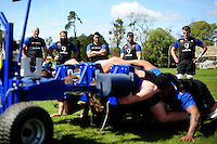 Matt Garvey, Kane Palma-Newport, Leroy Houston, Guy Mercer and Zach Mercer of Bath Rugby look on. Bath Rugby training session on May 3, 2016 at Farleigh House in Bath, England. Photo by: Patrick Khachfe / Onside Images