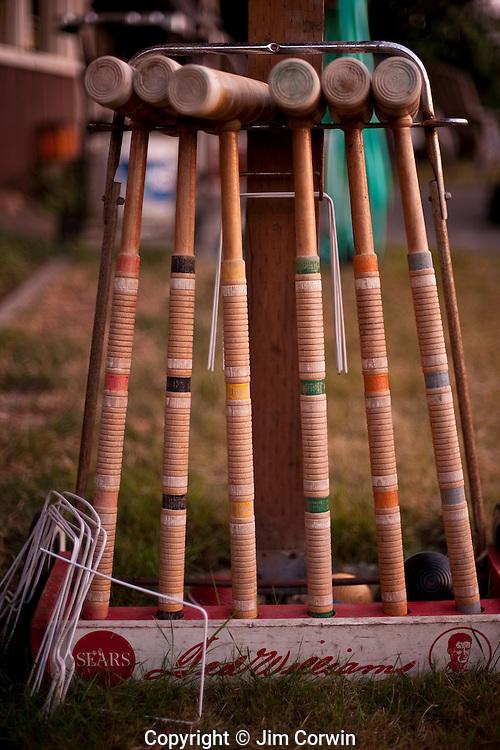 Vintage Croquet set in back yard