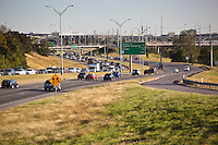 View looking northbound on the Mopac Expressway as Traffic heads southbound to downtown during the morning rush hour traffic jam.