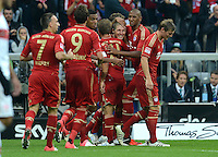 FUSSBALL   1. BUNDESLIGA  SAISON 2012/2013   2. Spieltag FC Bayern Muenchen - VfB Stuttgart      02.09.2012 Jubel nach dem Tor zum 6:1 Franck Ribery, Mario Mandzukic, Bastian Schweinsteiger, Jerome Boateng, Toni Kroos  (v. li., FC Bayern Muenchen)