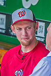 8 June 2013: Washington Nationals pitcher Stephen Strasburg is interviewed in the dugout prior to a game against the Minnesota Twins at Nationals Park in Washington, DC. The Twins edged out the Nationals 4-3 in 11 innings. Mandatory Credit: Ed Wolfstein Photo *** RAW (NEF) Image File Available ***