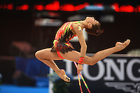 Natalia Garcia Timofeeva of Spain (junior) stag leaps during rope event final at 2008 European Championships at Torino, Italy on June 7, 2008.  Photo by Tom Theobald.