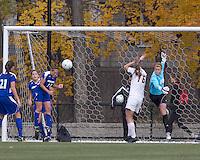 Hofstra University midfielder Tiffany Yovino (18) heads out a corner kick. Boston College defeated Hofstra University, 3-1, in second round NCAA tournament match at Newton Soccer Field, Newton, MA.