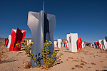 Hawthorne Fin Field along U.S. Highway 95 is about 100 bomb fins painted in red, white and blue and assembled in 2003 to honor the men and women of America's Armed Forces. The fins were surplus from the Hawthore Army Depot, the largest ammo dump in the world.