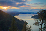 Idaho, North, Kootenai County, Coeur d'Alene. A late Spring evening view over Wolf Lodge Bay of Lake Coeur d'Alene.