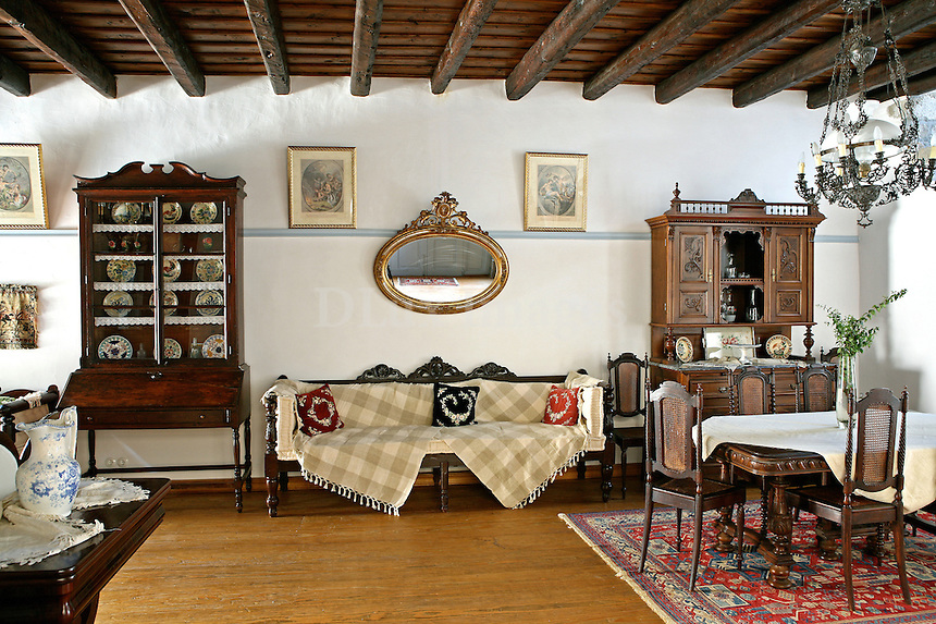 traditional living room with dining set