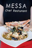 """Asie/Israel/Tel-Aviv-Jaffa: Couscous de la mer et bisque de crabe recette d'Aviv Moshe chef du Restaurant """"Messa"""" Rehov Ha'arba'a 19 Millénium Towers"""