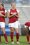 22 November 2013: Arkansas' Yvonne DesJarlais (15). The University of Arkansas Razorbacks played the Saint John's University Red Storm at Koskinen Stadium in Durham, NC in a 2013 NCAA Division I Women's Soccer Tournament Second Round match. Arkansas won the game 1-0.