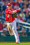 19 September 2015: Washington Nationals third baseman Yunel Escobar makes a throw to first opening up the game against the Miami Marlins at Nationals Park in Washington, DC. The Nationals defeated the Marlins 5-2 in the third game of their 4-game series. Mandatory Credit: Ed Wolfstein Photo *** RAW (NEF) Image File Available ***