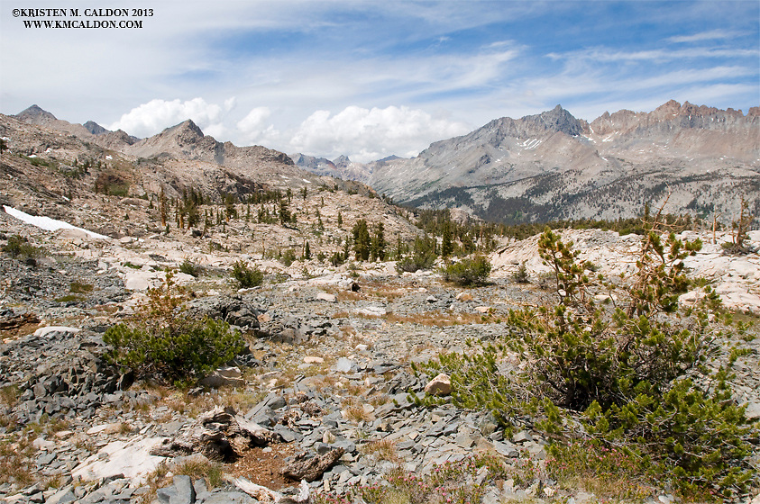 Climbing to Blackrock Pass: the view back into Little 5 Lakes Basin, the Big Arroyo, and the Kaweah Range in Sequoia National Park