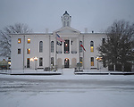 Snow in front of Lafayette County Courthouse in Oxford, Miss., on Monday, January 10, 2011.