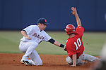Ole Miss' Alex Yarbrough (2) tags out Georgia's Jonathan Hester (10) in a college baseball action at Oxford-University Stadium in Oxford, Miss. on Friday, April 8, 2011. Georgia won 9-8.