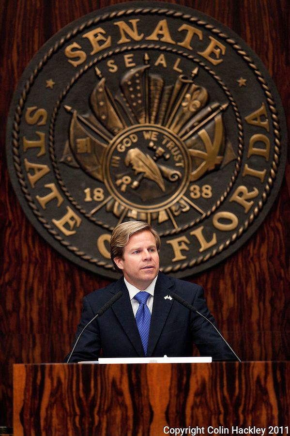 TALLAHASSEE, FLA. 3/8/11-OPENINGDAY030811 CH-Senate President Mike Haridopolos, R-Melbourne, speaks during the opening day of the 2011 legislative session Tuesday at the Capitol in Tallahassee. .COLIN HACKLEY PHOTO
