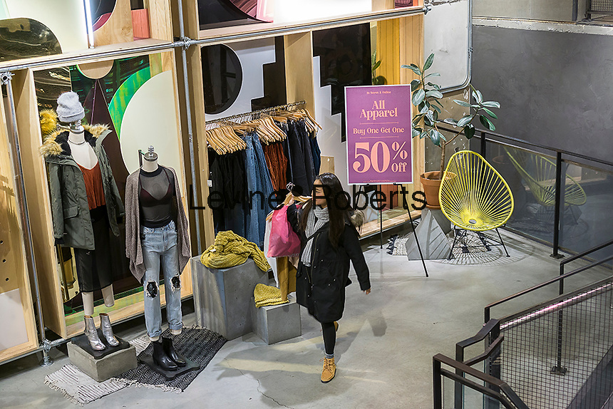 Last minute shoppers in an Urban Outfitters retail store in Herald Square in New York on Friday, December 23, 2016. Today is the last full day to shop prior to Christmas.  (© Richard B. Levine)