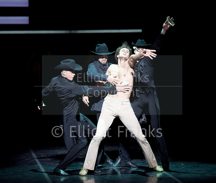 Eifman Ballet<br /> Up &amp; Down<br /> UK Premiere at the  London Coliseum, London, Great Britain <br /> 6th December 2016 <br />  <br /> <br />  <br /> Eifman Ballet return to the UK with the premiere of Artistic Director Boris Eifman&rsquo;s ballet Up &amp; Down. In this photo call, the company will be performing fully lit and costumed scenes from the production.<br />  <br /> Oleg Gabyshev<br /> <br /> <br /> <br />  <br /> Taking place in the magnificent Jazz Age &ndash; the piece evokes the unstoppable feast of life; the era of freedom, sensuality, and hedonism. This special visit will also be a celebration of the internationally renowned Company&rsquo;s 40th anniversary.<br /> <br /> Based on the 1934 F. Scott Fitzgerald novel &lsquo;Tender Is the Night&rsquo;, Up &amp; Down follows the rise and fall of a promising young psychoanalyst and one of his patients; presenting the bizarre kaleidoscope of obsessions, fears and fragments of patients&rsquo; minds. The characters&rsquo; own ups and downs masterfully recreated by Boris Eifman and his dancers.<br /> <br /> <br /> <br /> <br /> Photograph by Elliott Franks <br /> Image licensed to Elliott Franks Photography Services