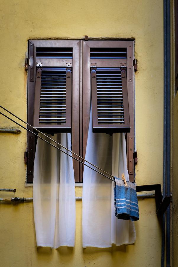 RIOMAGGIORE, ITALY - CIRCA MAY 2015:  Windows in the village of Riomaggiore in Cinque Terre, Italy.