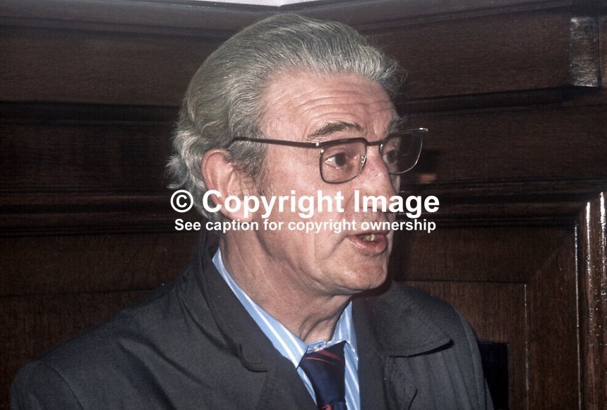 Albert Price, Independent Republican candidate, West Belfast, N Ireland, in February 1974 UK General Election. He is father of Marian &amp; Dolours Price, sisters, who were convicted of Old Bailey car bombing in London in March 1973. 1974020000093c<br /> <br /> Copyright Image from Victor Patterson, 54 Dorchester Park, <br /> Belfast, UK, BT9 6RJ<br /> <br /> t1: +44 28 9066 1296 (from Rep of Ireland 048 9066 1296)<br /> t2: +44 28 9002 2446 (from Rep of Ireland 048 9002 2446)<br /> m: +44 7802 353836<br /> <br /> e1: victorpatterson@me.com<br /> e2: victorpatterson@gmail.com<br /> <br /> www.victorpatterson.com<br /> <br /> Please see my Terms and Conditions of Use at www.victorpatterson.com. It is IMPORTANT that you familiarise yourself with them.<br /> <br /> Images used on the Internet must be visibly watermarked i.e. &copy; Victor Patterson within the body of the image and copyright metadata must not be deleted. Images used on the Internet have a size restriction of 4kbs and will be chargeable at current NUJ rates unless agreed otherwise.<br /> <br /> This image is only available for the use of the download recipient i.e. television station, newspaper, magazine, book publisher, etc, and must not be passed on to any third party. It is also downloaded on condition that each and every usage is notified within 7 days to victorpatterson@me.com<br /> <br /> The right of Victor Patterson to be identified as the author is asserted in accordance with The Copyright Designs And Patents Act (1988).