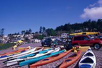Kayaks on Beach at Semiahoo Bay, White Rock, BC, British Columbia, Canada
