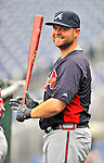 24 September 2011: Atlanta Braves catcher Brian McCann awaits his turn in the batting cage prior to a game against the Washington Nationals at Nationals Park in Washington, DC. The Nationals defeated the Braves 4-1 to even up their 3-game series. Mandatory Credit: Ed Wolfstein Photo