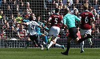 Manchester United's Anthony Martial scores the opening goal <br /> <br /> Photographer Stephen White/CameraSport<br /> <br /> The Premier League - Burnley v Manchester United - Sunday 23rd April 2017 - Turf Moor - Burnley<br /> <br /> World Copyright &copy; 2017 CameraSport. All rights reserved. 43 Linden Ave. Countesthorpe. Leicester. England. LE8 5PG - Tel: +44 (0) 116 277 4147 - admin@camerasport.com - www.camerasport.com