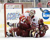 Connor Knapp (Miami - 31), Cam Atkinson (BC - 13) - The Boston College Eagles defeated the Miami University RedHawks 7-1 in the 2010 NCAA Frozen Four Semi-Final on Thursday, April 8, 2010, at Ford Field in Detroit, Michigan.