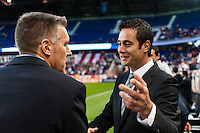 New York Red Bulls head coach Mike Petke greets Sporting Kansas City manager Peter Vermes before the match. Sporting Kansas City defeated the New York Red Bulls 1-0 during a Major League Soccer (MLS) match at Red Bull Arena in Harrison, NJ, on April 17, 2013.
