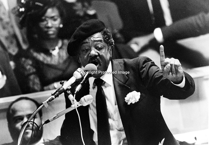 Black Panther funeral, Bobby Seale speaking at the service for Panther leader Huey Newton who was shot on an Oakland, California street. (1989 photo Ron Riesterer)