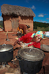 Women boil natural dyes for raw silk yarn in the central highlands of Madagascar.