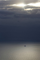 Storm clouds over ship in Port Phillip Bay.<br />