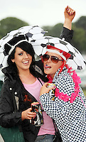 08/07/'10 Lisa Doyle and Leanne Crowe from Naas pictured arriving at Punchestown, Co. Kildare this evening for the start of the Oxegen Festival 2010...Picture Colin Keegan, Collins, Dublin