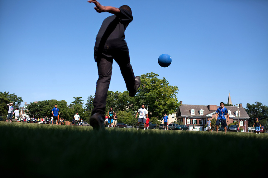 Students play kick ball during their Afternoon Activities at the Center for Talented Youth summer program at Lafayette College in Easton, PA on July 06, 2012. Several students were part of the Rural Connections scholarship program being offered for the first time this year.