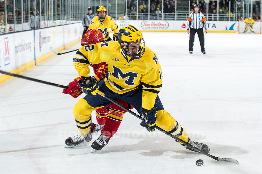 The University of Michigan ice hockey team ties Ferris State University, 2-2 (W, SO), at Yost Ice Arena in Ann Arbor, Mich. on December 11, 2013.
