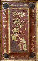 Detail of panel from the bookcases with Chinese motifs, lacquer and gilding by Manuel da Silva, in the Red Room of the Joanina Library, or Biblioteca Joanina, a Baroque library built 1717-28 by Gaspar Ferreira, part of the University of Coimbra General Library, in Coimbra, Portugal. The Casa da Livraria was built during the reign of King John V or Joao V, and consists of the Green Room, Red Room and Black Room, with 250,000 books dating from the 16th - 18th centuries. The library is part of the Faculty of Law and the University is housed in the buildings of the Royal Palace of Coimbra. The building is classified as a national monument and UNESCO World Heritage Site. Picture by Manuel Cohen