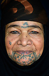 A Syrian refugee woman in Kamid al lawz, a town in Lebanon's Bekaa Valley, where the International Orthodox Christian Charities and other members of the ACT Alliance are assisting refugees in a variety of ways. Her face displays deq, a traditional form of facial tattoos.