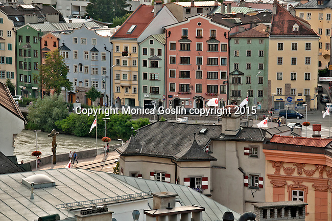 Looking down at the streets of Old Town and the Old Inn Bridge from City Tower (Stadtturm)
