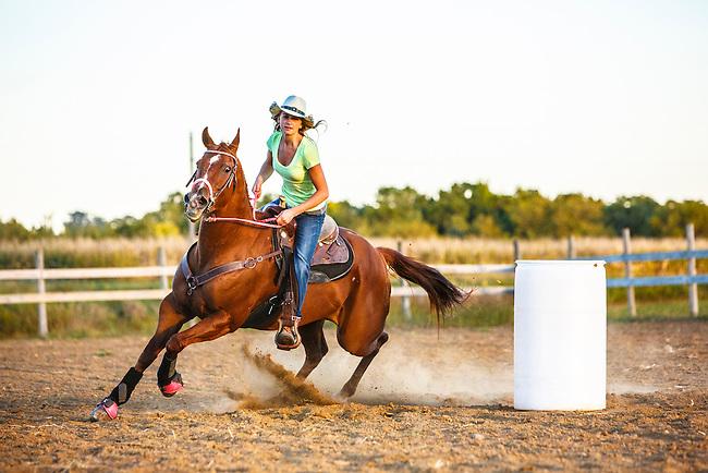 Western Girl Riding Barrel