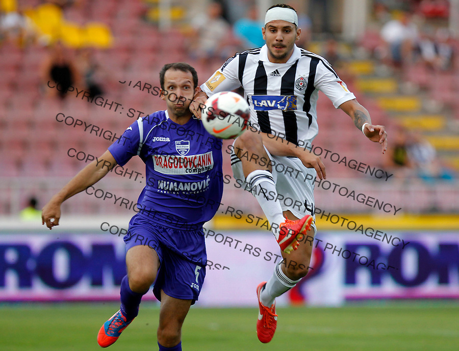 Fudbal Super liga season 2013-2014<br /> Partizan v Novi Pazar<br /> Aleksandar Mitrovic right and Miljan Mutavdzic<br /> Beograd, 10.08.2013.<br /> foto: Srdjan Stevanovic/Starsportphoto &copy;