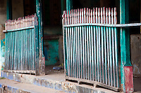 Balustrade in Blue - Green. Thittacheri.<br /> Small town near Nagore, Tamil Nadu. South India.