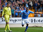 St Johnstone v Ross County...17.08.13 SPFL<br /> Nigel Hasselbaink celebrates giving St Johnstone the lead<br /> Picture by Graeme Hart.<br /> Copyright Perthshire Picture Agency<br /> Tel: 01738 623350  Mobile: 07990 594431