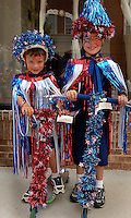 Two boys show off the costumes they made for the annual Fourth of July Celebration and community parade in Birkdale Village in Huntersville, NC. Birkdale Village combines the best of shopping, dining, apartments and entertainment venues within a 52-acre mixed-use development.