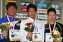 (L to R) .Masafumi Yamaguchi, .Junya Koga, .Seiji Taniguchi, .FEBRUARY 11, 2012 - Swimming : .The 53rd Japan Swimming Championships (25m) .Men's 50m Backstroke Victory Ceremony .at Tatsumi International Swimming Pool, Tokyo, Japan. .(Photo by YUTAKA/AFLO SPORT) [1040]