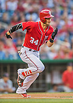 28 May 2016: Washington Nationals outfielder Bryce Harper hustles to first during a game against the St. Louis Cardinals at Nationals Park in Washington, DC. The Cardinals defeated the Nationals 9-4 to take a 2-games to 1 lead in their 4-game series. Mandatory Credit: Ed Wolfstein Photo *** RAW (NEF) Image File Available ***