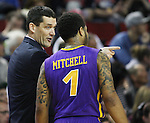 Northern Iowa State head coach Ben Jacobson talks to his guard, Deon Mitchell (1) during their game against Louisville during the 2015 NCAA Division I Men's Basketball Championship's March 22, 2015 at the Key Arena in Seattle, Washington.  Louisville beat Northern Iowa State 66-53 to advance to the Sweet 16. ©2015. Jim Bryant Photo. ALL RIGHTS RESERVED.