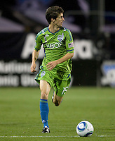 Alvaro Fernandez of Sounders in action during the game against the Earthquakes at Buck Shaw Stadium in Santa Clara, California on April 2nd, 2011.   San Jose Earthquakes and Seattle Sounders are tied 2-2.