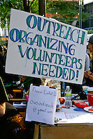 Volunteer contact number at the Occupy Wall Street Protest in New York City October 6, 2011.