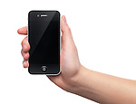 Black iPhone 4s Apple smartphone in a hand. Isolated on white background.
